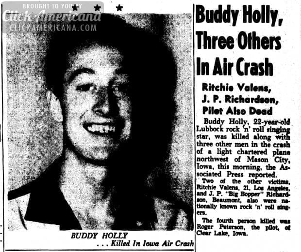 buddy-holly-killed-Lubbock Evening Journal February 3, 1959