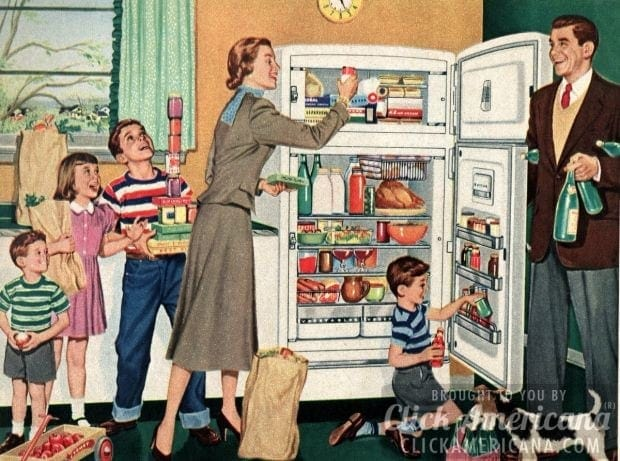Filling the fridge was a family affair! (1952)