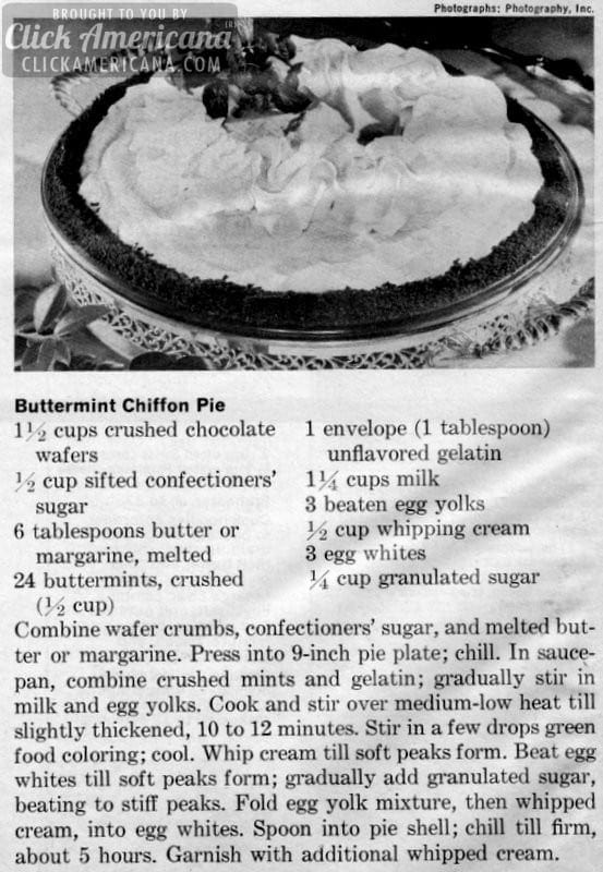 Buttermint Chiffon Pie recipe (1971)