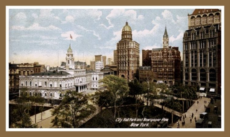 New York City for a career - c1904 NYC City Hall Park and Newspaper Row, New York