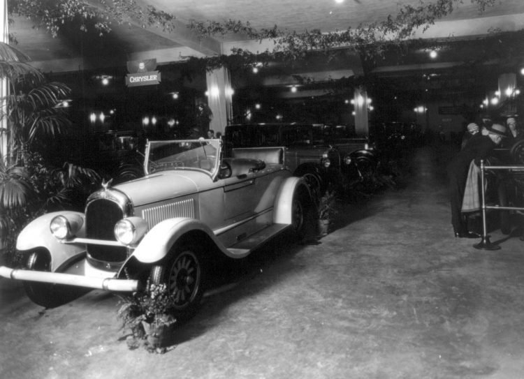c1920-Exhibits auto show, probably in DC Chrysler convertible in foreground