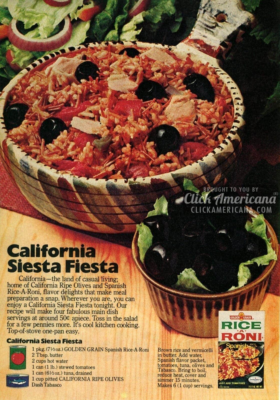 California Siesta Fiesta: Rice with tuna & tomatoes (1976)