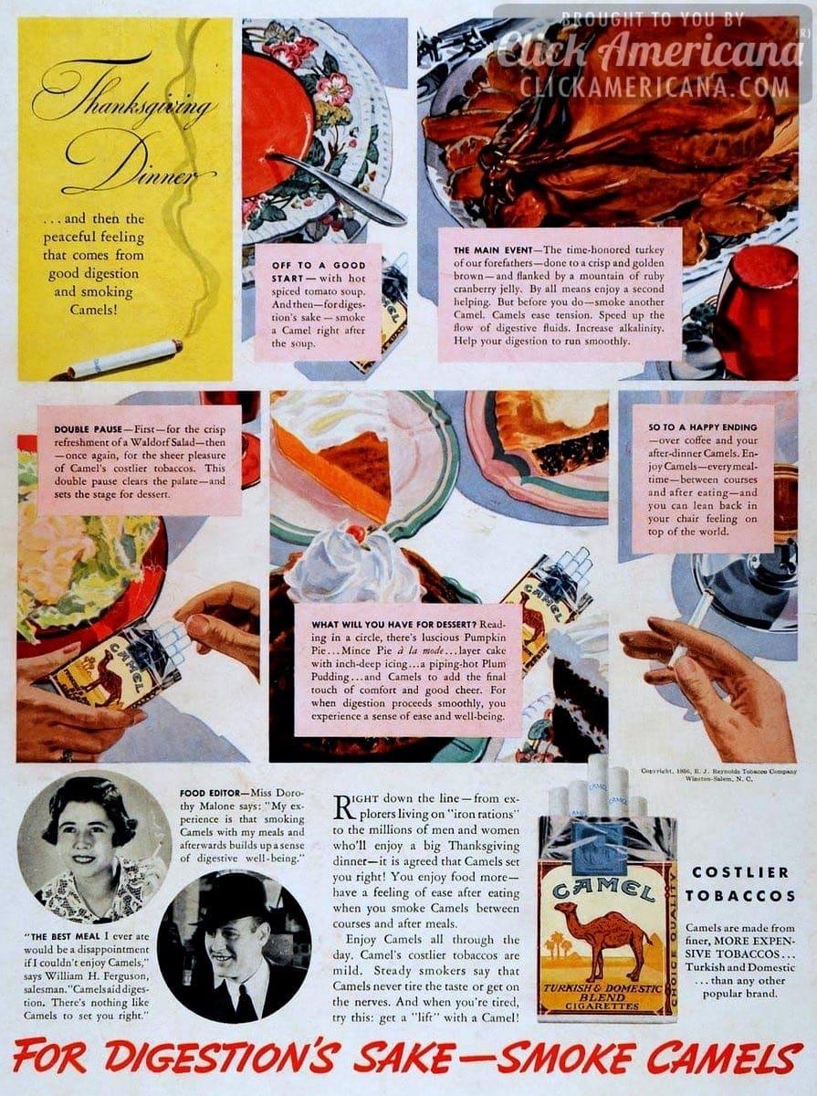 thanksgiving u0026 peaceful feelings smoking camels 1936 click