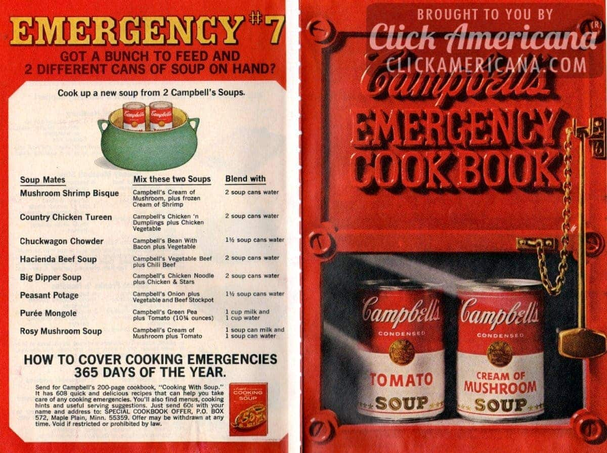 Campbell Kitchen Recipe 20 Recipes From Campbells Emergency Dinner Cookbook 1968