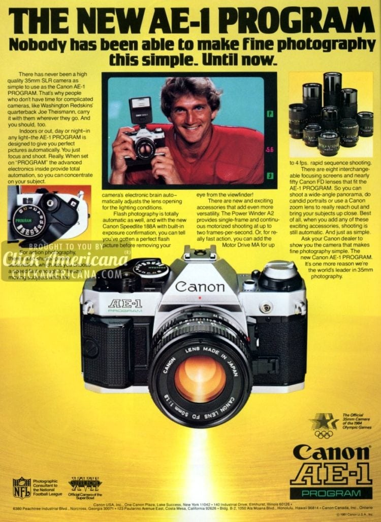 The new Canon AE-1 Program SLR camera (1982)