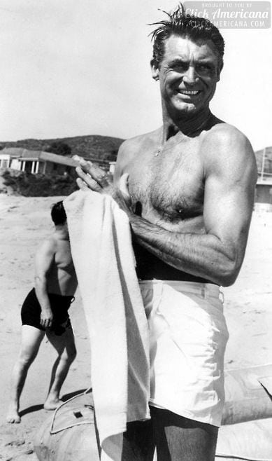 cary grant on the beach c 1940