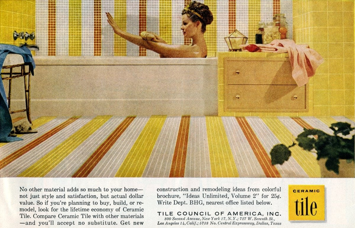 Bathtub updated with tile - 1960s home decor