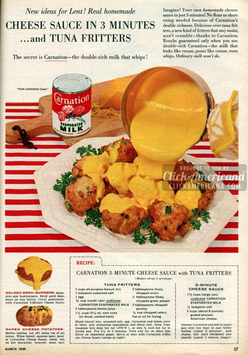 Tuna Fritters with Cheese Sauce (1959)