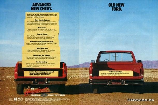 Chevy vs Ford pickup trucks (1987) - Click Americana