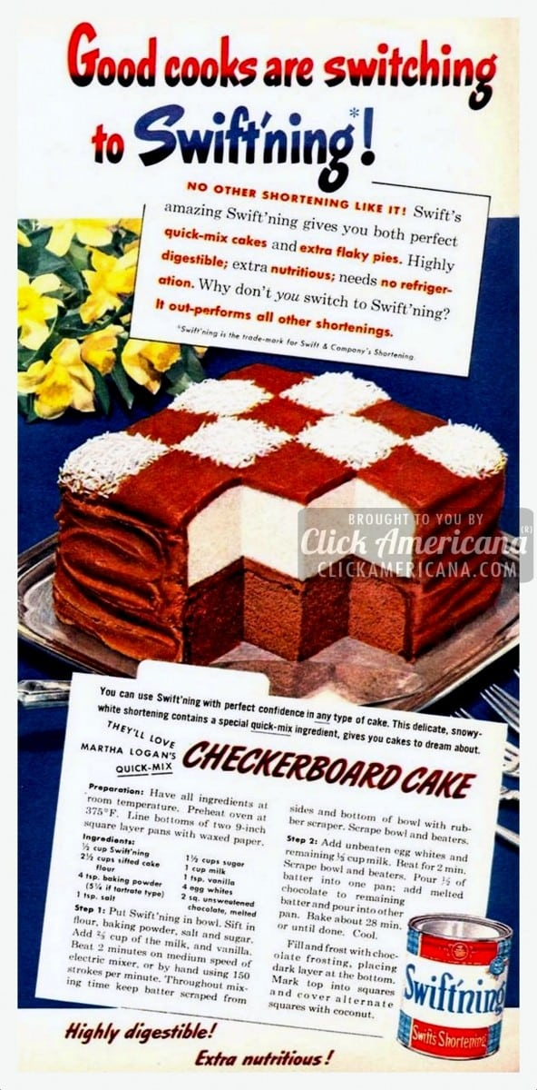 Chocolate-Vanilla Checkerboard Cake recipe (1949)