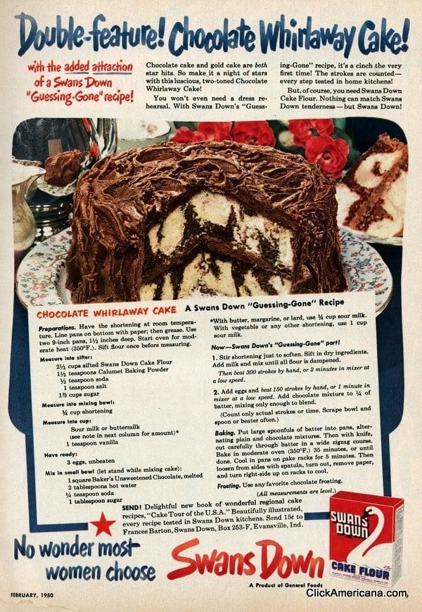 Chocolate whirlaway cake (1950)