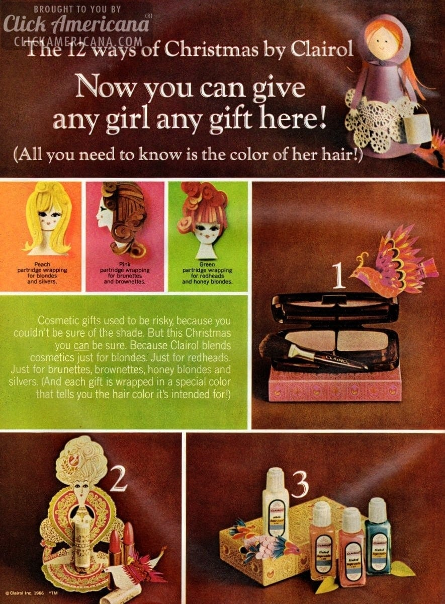 Makeup: The 12 ways of Christmas by Clairol (1966)
