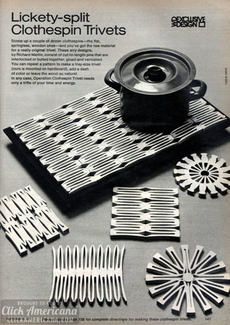 Make some trivets from wooden clothespins (1972)