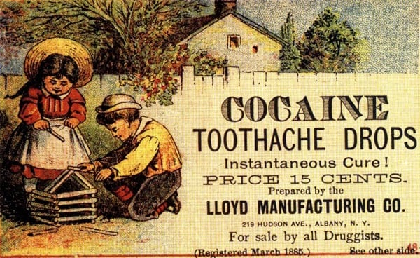 COCAINE TOOTHACHE DROPS ad from c1885