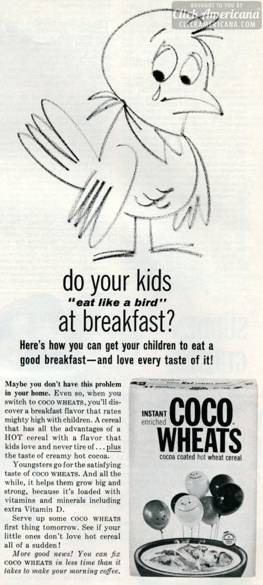 Coco Wheats hot breakfast cereal (1962)