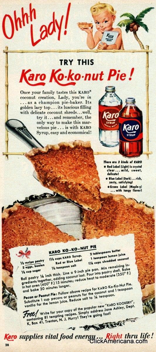 Ko-ko-nut pie recipe (1950)