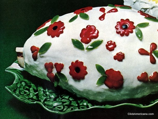 Cold glazed ham with pimento flowers (1965)