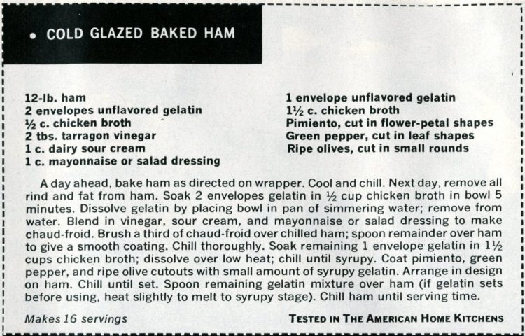 cold glazed baked ham recipe card