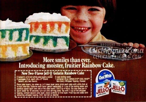 Jell-O Rainbow Poke Cake recipe (1982) - Click Americana