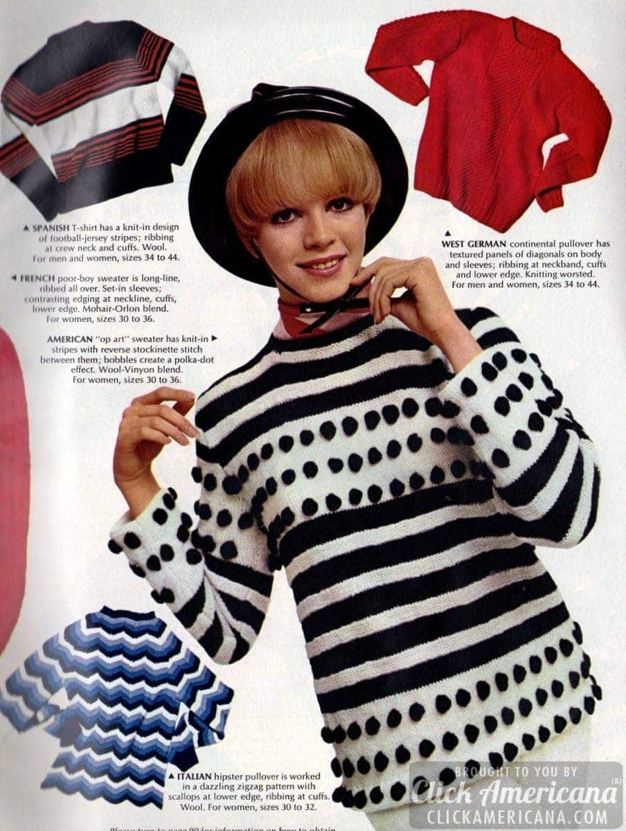 Contemporary sweaters a go-go: Up-to-the-minute fashions (1966)