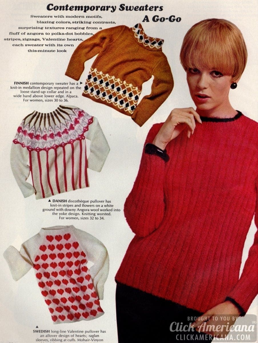 Contemporary a go-go: Eight trendy 60s sweaters (1966)
