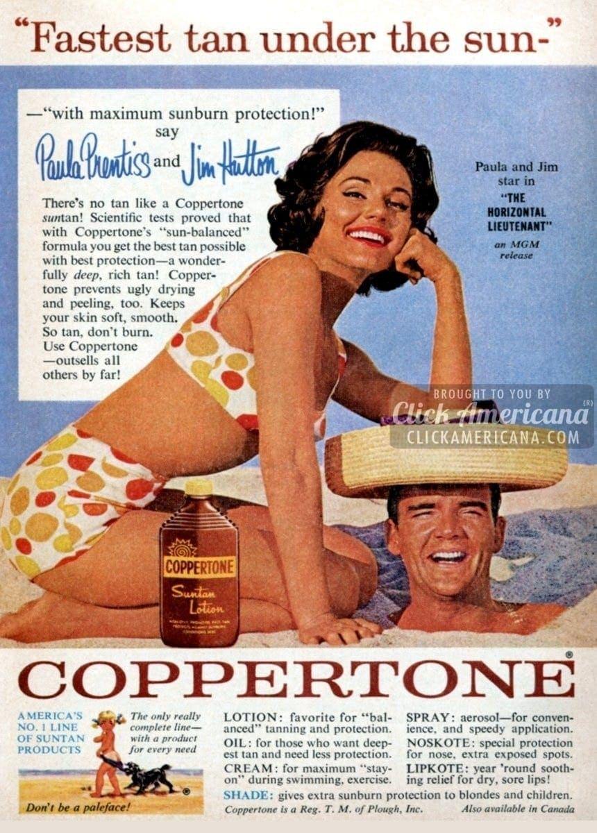 Hollywood stars shine for Coppertone suntan lotion (1962)