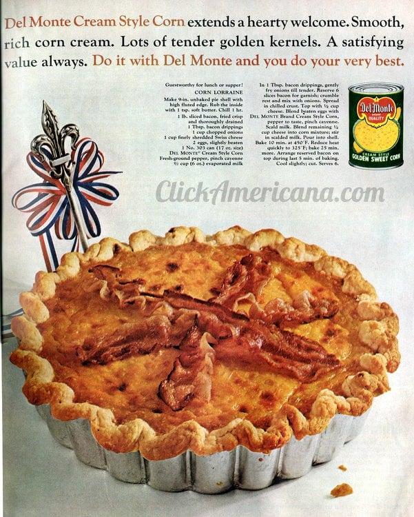 Corn Lorraine recipe (1965)