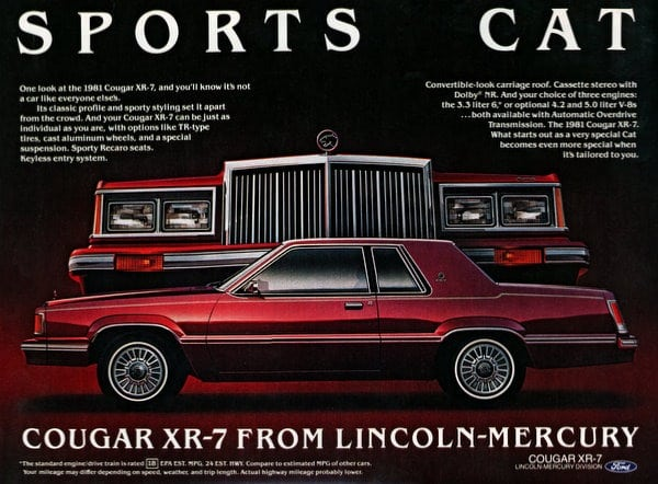 1981 mercury cougar ads click americana class cat cougar xr 7 from lincoln mercury publicscrutiny Image collections