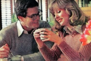 couple at home having breaksfast 1978