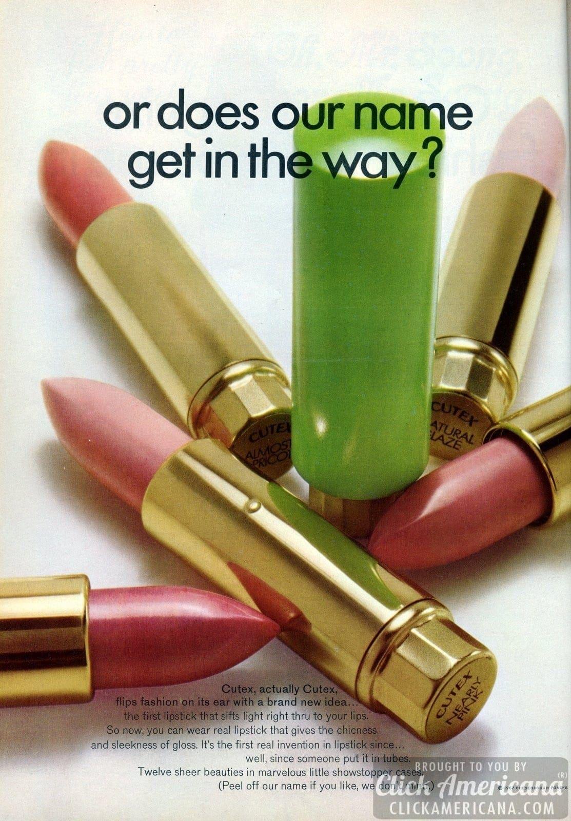 Cutex lipstick flips fashion on its ear (1967)