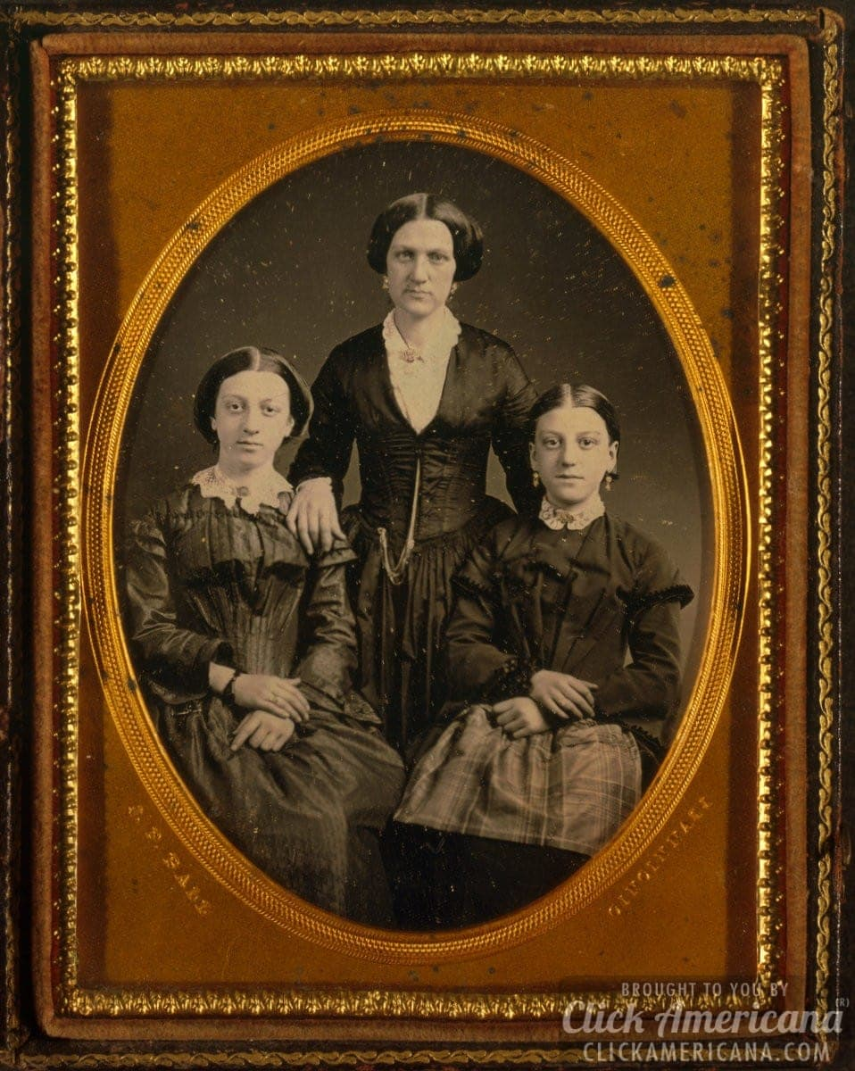 Mother and daughters - old photo from the 1860s