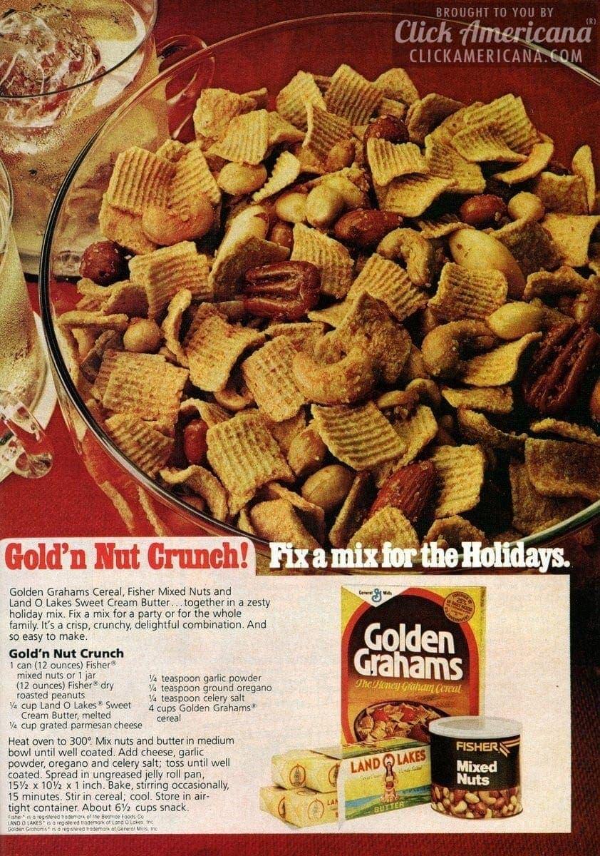 Golden Grahams: Gold'n Nut Crunch party mix recipe (1978-1979)
