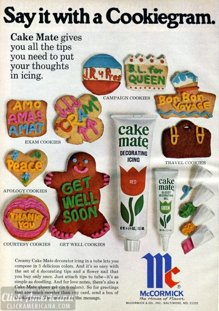 Say it with a Cookiegram: Cake Mate decorator icing (1971)