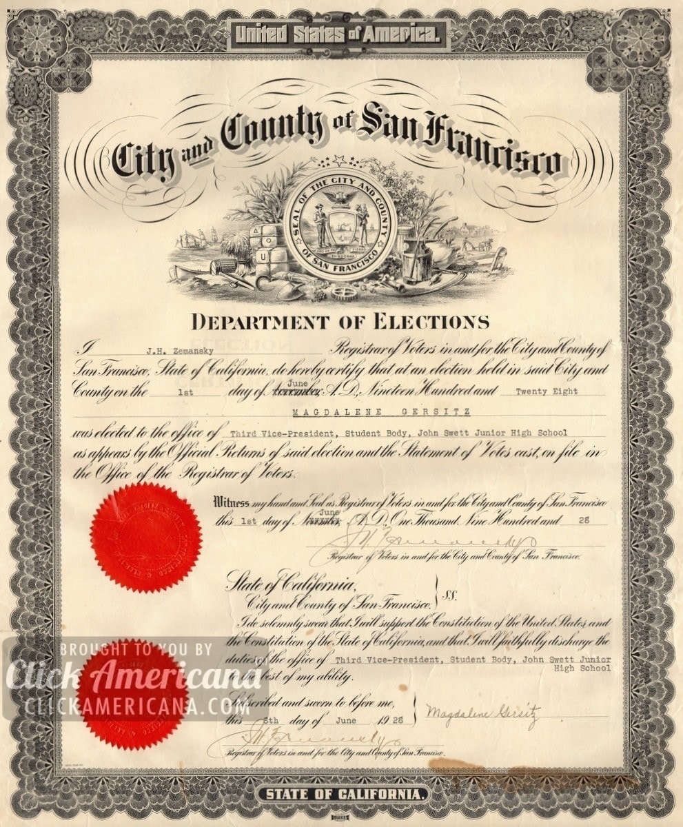 San Francisco Department of Elections certificate (1928)
