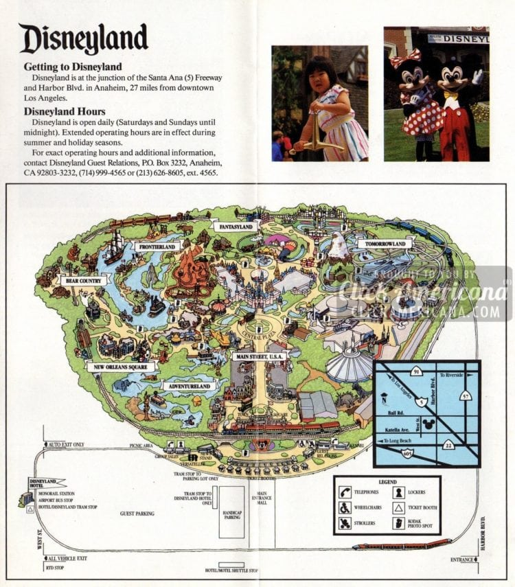 Disneyland map and hours - 1987-1988