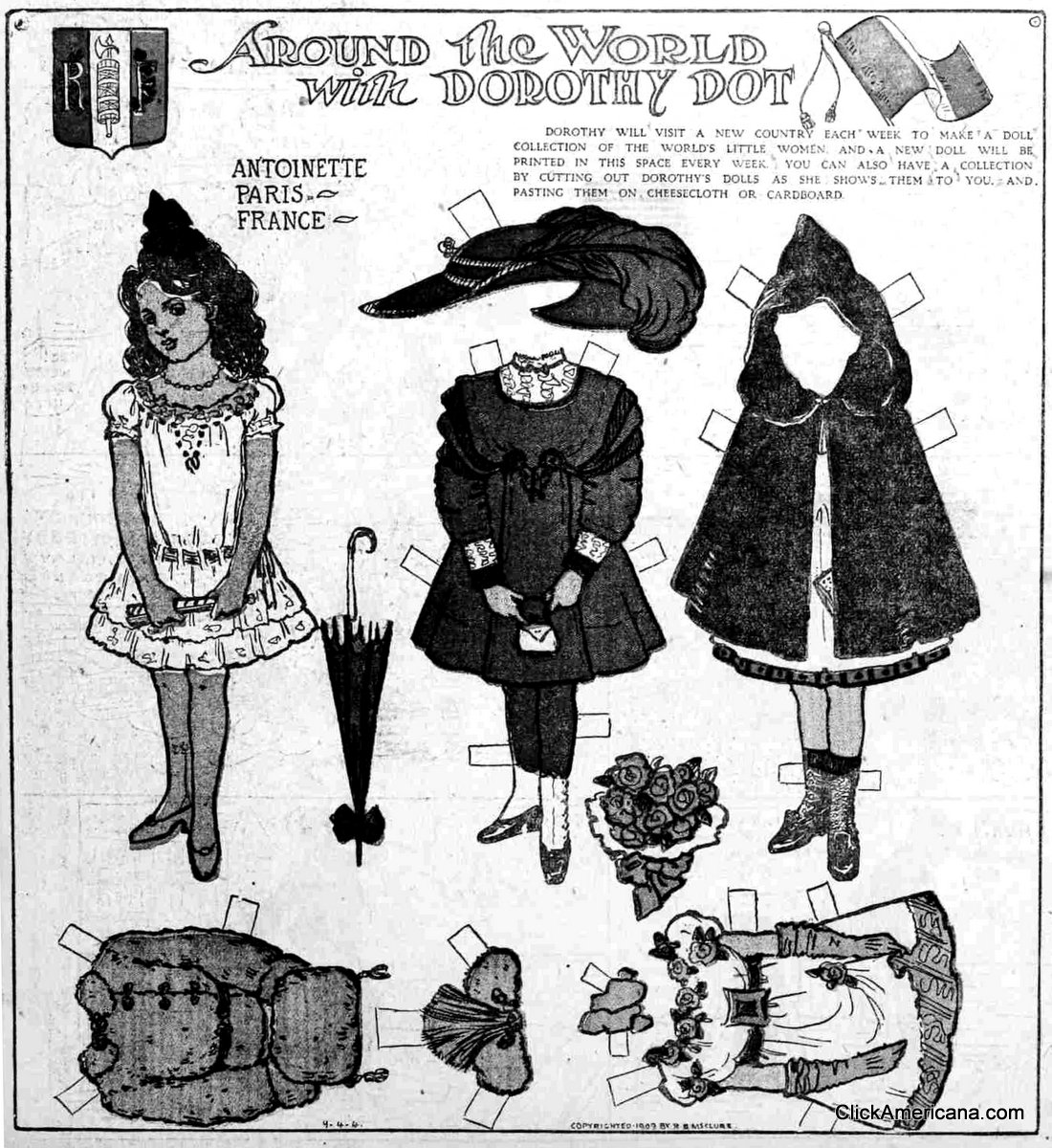 Dorothy Dot paper doll: Antoinette of France (1909)