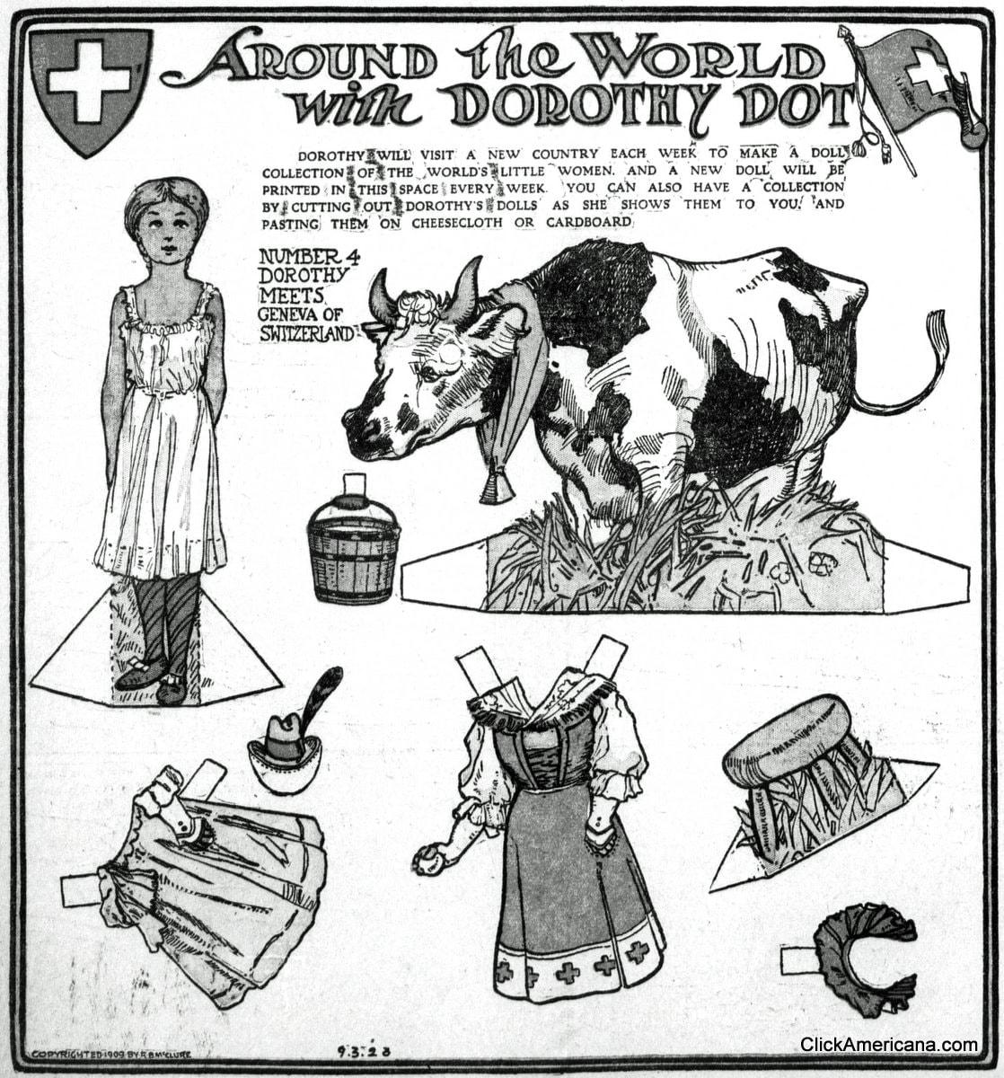 Dorothy Dot paper doll: Geneva of Switzerland (1909)