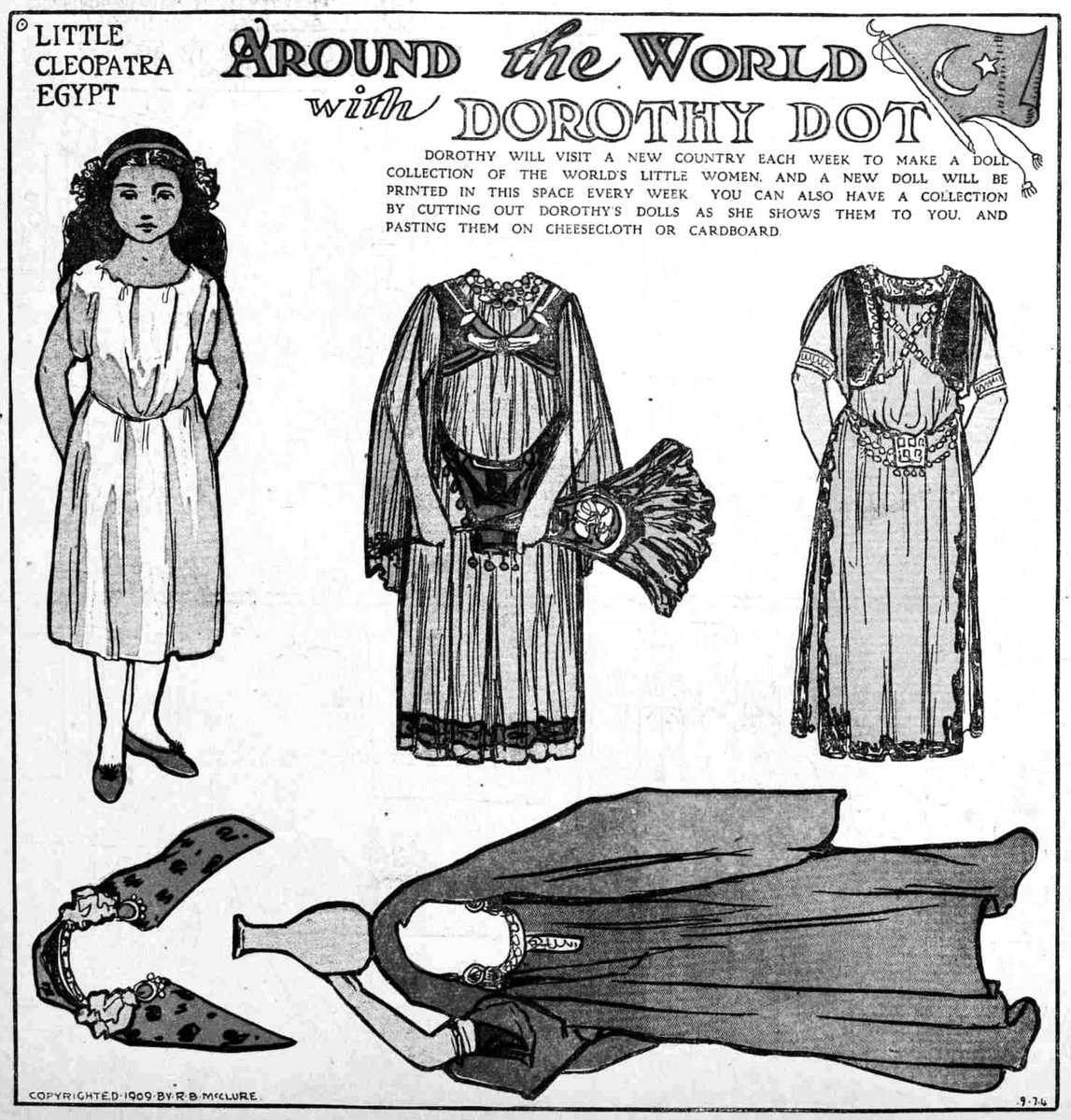 Dorothy Dot paper doll: Little Cleopatra of Egypt (1909)