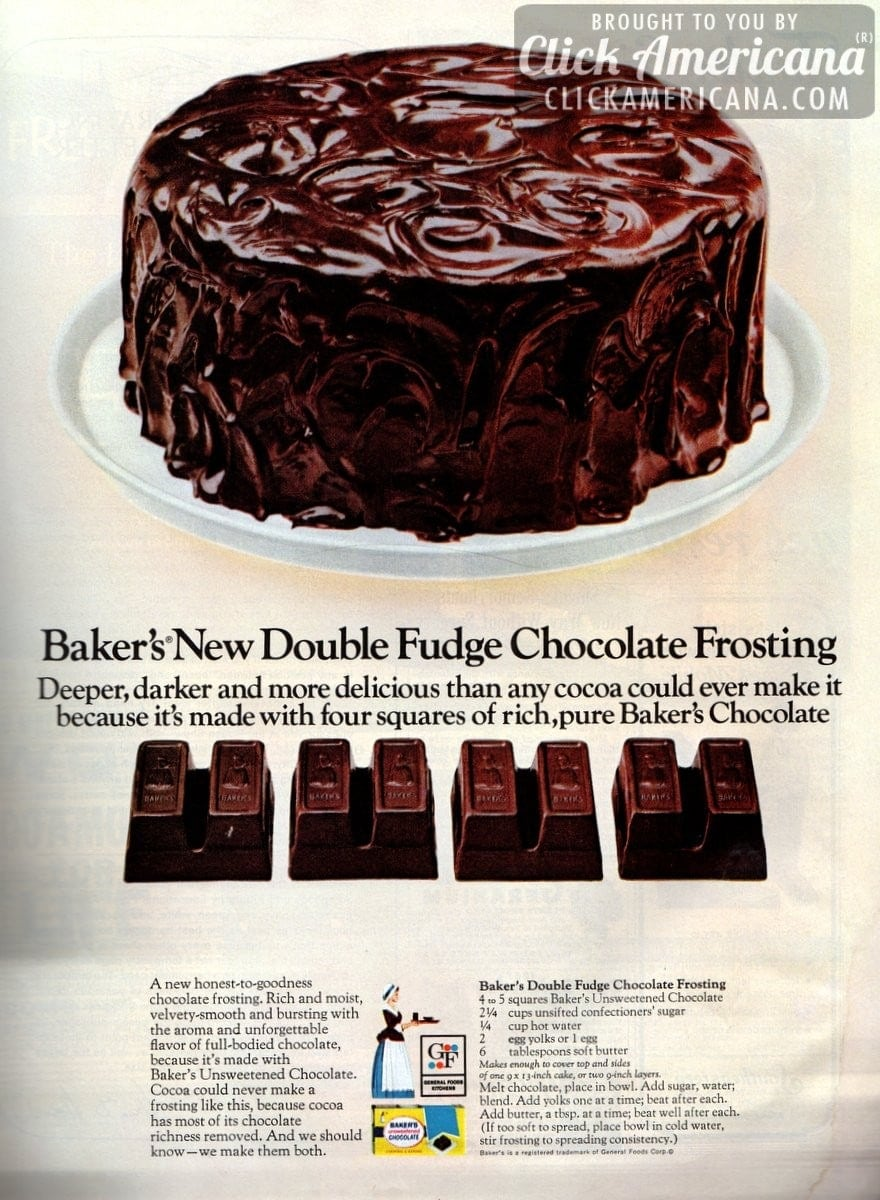Baker's new double fudge chocolate frosting (1966) - Click ...