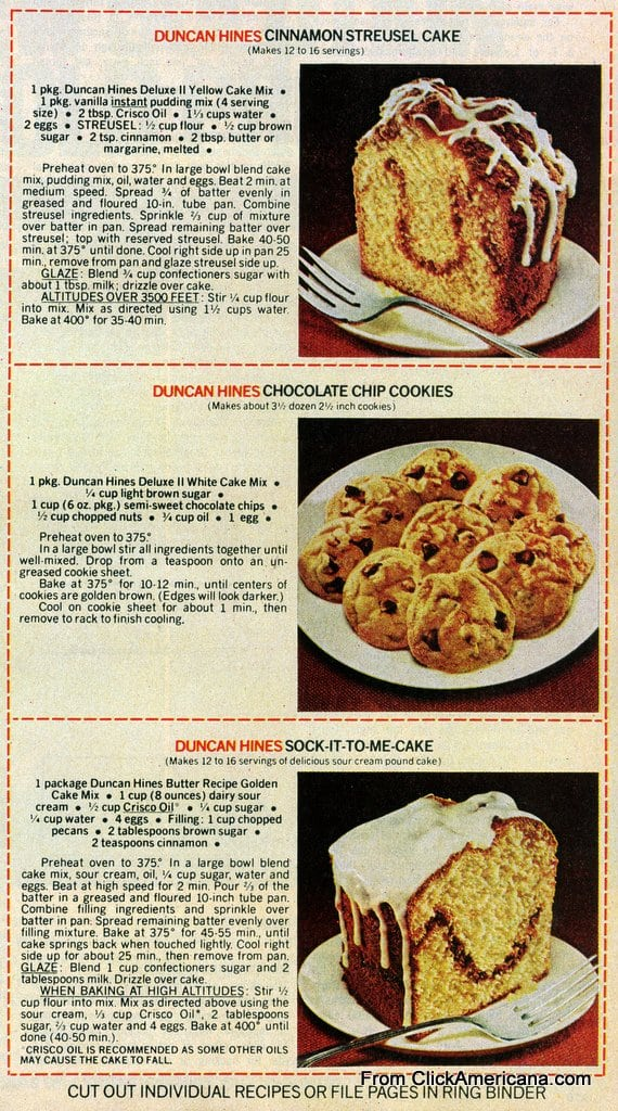 6 Dessert Recipes With Duncan Hines Cake Mix 1978