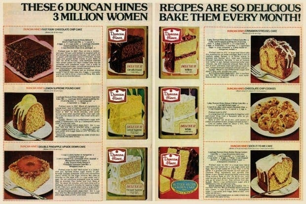 6 dessert recipes with Duncan Hines cake mix (1978)