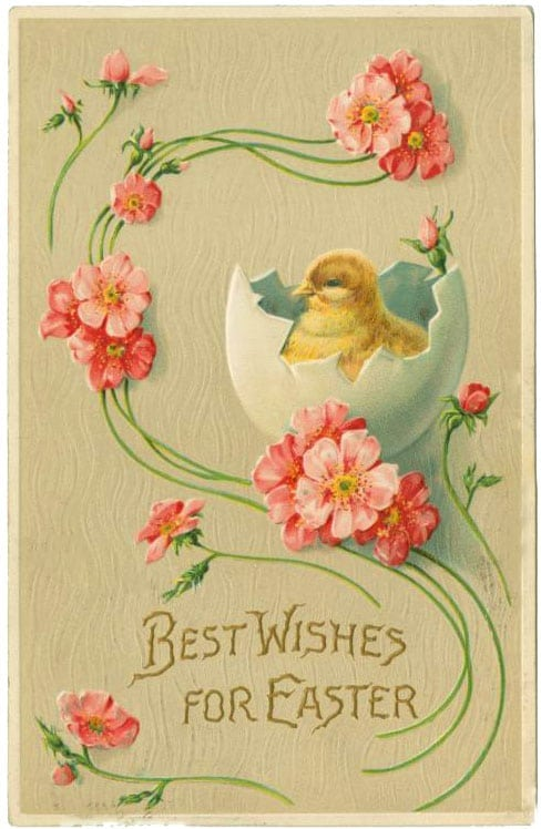 Cute vintage Easter postcard - Best wishes (1909)