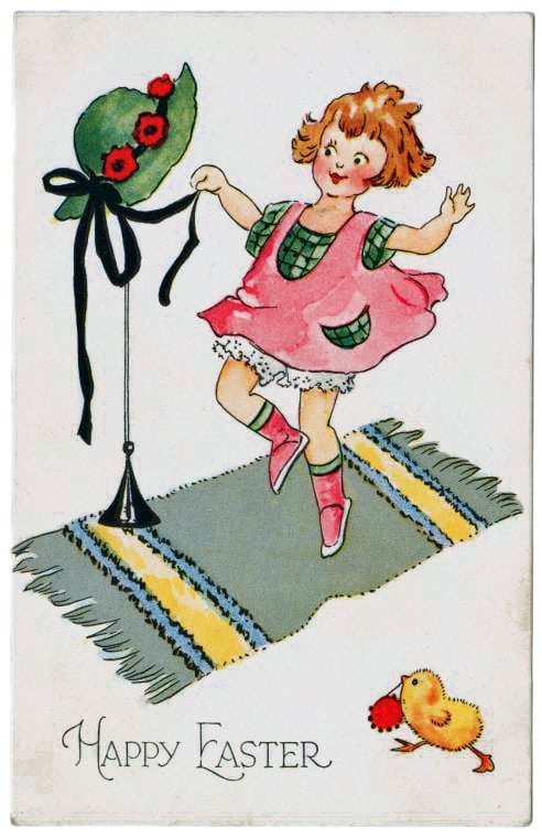 Girl with an Easter bonnet - antique postcard from 1924