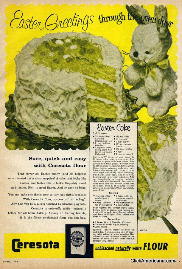 Easter cake with jelly beans & coconut (1958)