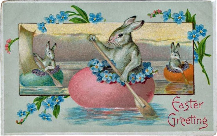 Easter bunnies vintage postcard (1909)