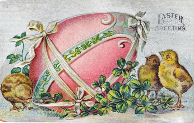 Chicks and a decorated egg Easter card (1900s)
