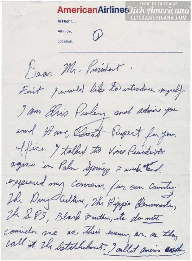Elvis Presley's handwritten letter to President Nixon - Page 1
