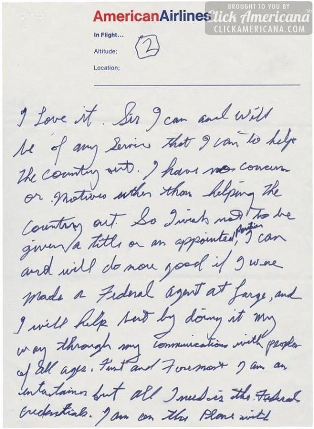 Elvis Presley's handwritten letter to President Nixon - Page 2