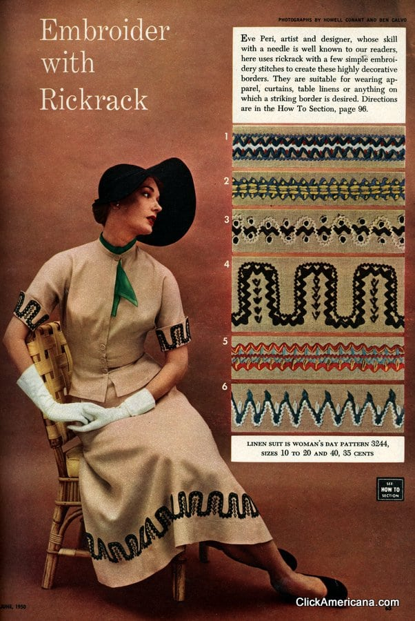 Embroider with rickrack (1950)