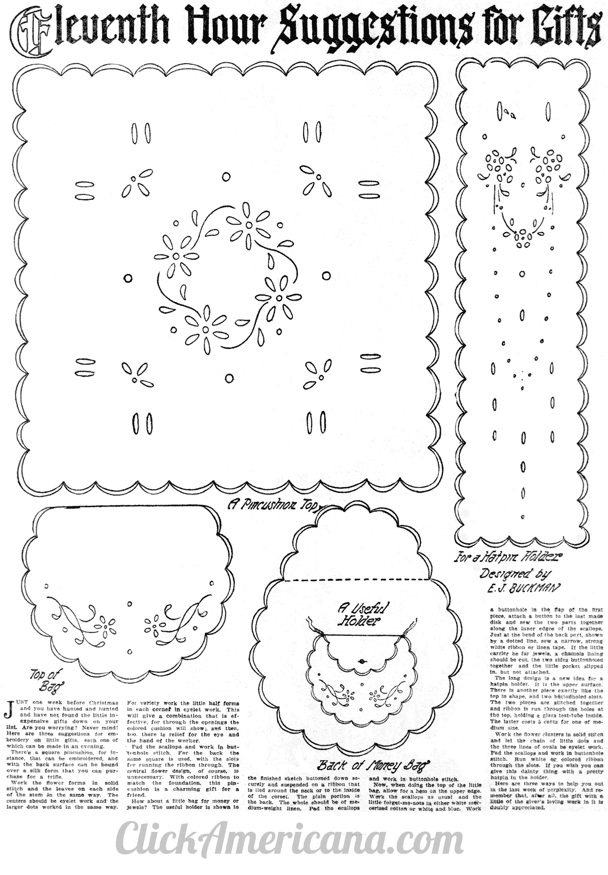 Easy embroidered Christmas gifts (1910)